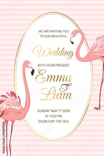 wedding marriage event invitation card template exotic flamingo