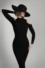 Fashion Model Long Dress, Wide Brimmed Hat, Elegant Lady Beauty Portrait, Woman Posing on White Studio background