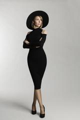 Fashion Model Long Dress, Hat Wide Brimmed, Elegant Woman Beauty Portrait, Lady Posing on White Studio background