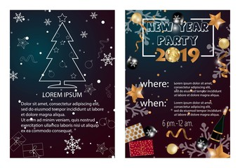 2019 Happy New Year Card or Christmas themed invitations