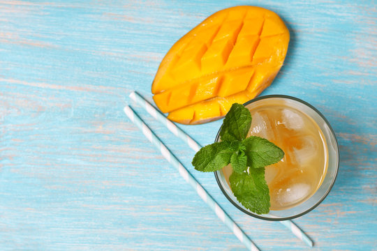mango ice tea with mint   (top view )