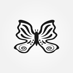 Outline of butterfly drawn by hand. Isolated icon, sign, logo, symbol.