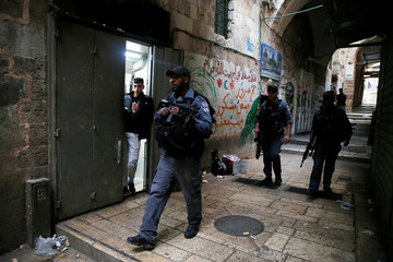Israeli security forces patrol Jerusalem's Old City, after an Israeli was wounded in a stabbing attack in Jerusalem's Old City, Israeli Police said