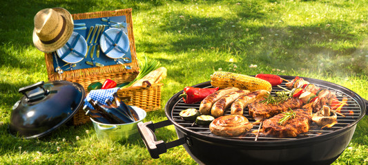 Photo on textile frame Grill / Barbecue Barbecue picnic