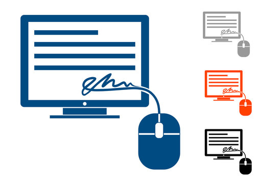 electronic signature, icon a sign in the form of a mouse and a wire from it,turning into a signature on the computer monitor. Different color options