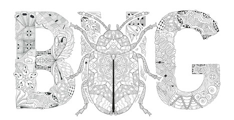 Word BUG for coloring with beetle silhouette. Vector decorative zentangle object