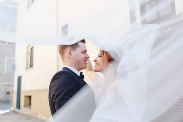 The groom kisses the bride on the street
