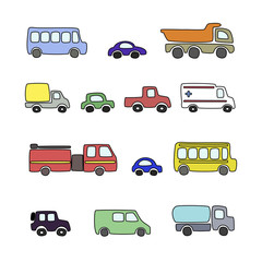 Set of colorful cartoon cars. Vector illustration.