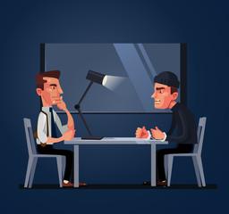 Bad policeman officer cop character arrest and interrogates suspected criminal prisoner asking him question. Crime and law concept. Vector flat cartoon illustration