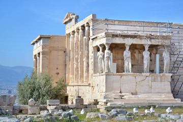 the ancient Erechtheion temple at Acropolis Athens Greece