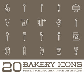 Set of Raster Bakery Pastry Elements and Bread Icons Illustration can be used as Logo or Icon in premium quality