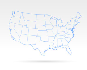 USA blue outline simple map