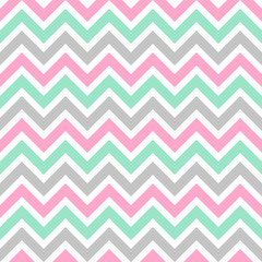 Cute seamless vector pattern with colorful zigzag