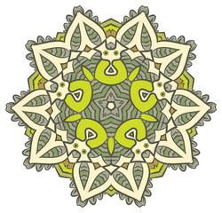 Ethnic Fractal Mandala Raster Meditation looks like Snowflake or Maya Aztec Pattern or Flower too Isolated on White Colorful