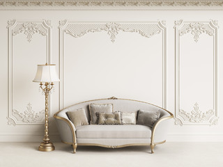 Classic furniture in classic interior with copy space.White walls with mouldings and ornated cornice.Digital Illustration.3d rendering Wall mural