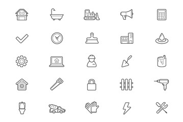Set of Raster Construction Building Icons. Home and Repair. Can be used as Logo or Icon. Premium quality