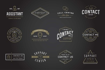 Set of Contact us Service Elements and Assistance Support can be used as Logo or Icon in premium quality