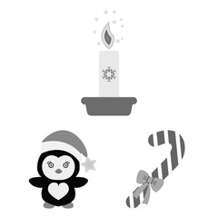 Christmas attributes and accessories monochrome icons in set collection for design. Merry Christmas vector symbol stock web illustration.