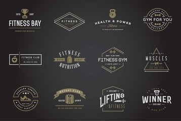 Set of Raster Fitness Aerobics Gym Elements and Fitness Icons Illustration can be used as Logo or Icon in premium quality