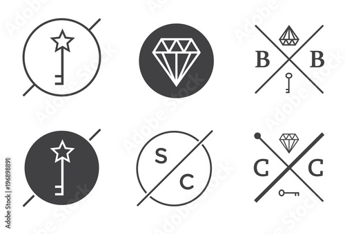 set of raster outline badges or emblems abstract hipster logo