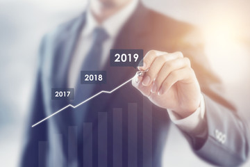 Growth in 2019 year concept. Businessman plan growth and increase of positive indicators in his business. Fototapete