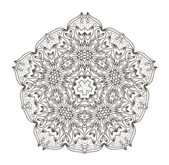 Ethnic Fractal Mandala Raster Meditation looks like Snowflake or Maya Aztec Pattern or Flower too Isolated on White