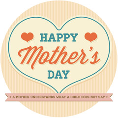 Vintage Happy Mothers's Day Design for Template or Postcard or Poster or Sticker Badge and any layout for print or web