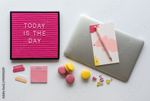 colorful office accessories. Brilliant Office Agenda Laptop Computer Colorful Office Accessories And Motivational  Letter Board Quote On White Desk Inside T