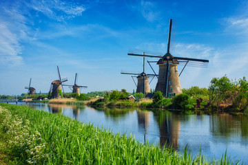 Windmills at Kinderdijk in Holland. Netherlands Wall mural
