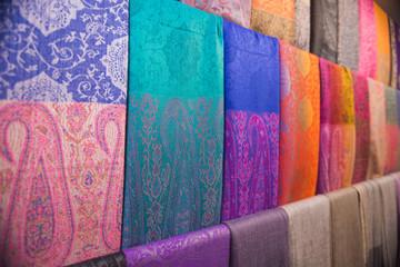 Traditional arabic shawls on an arabic market