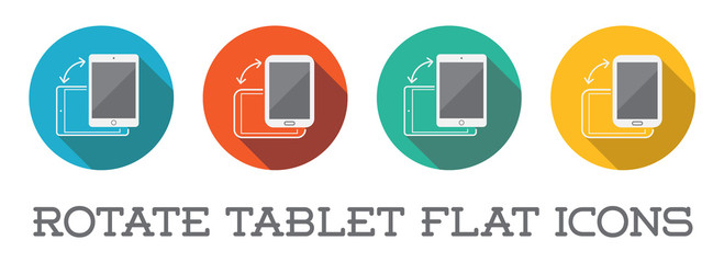 Colorful Rotate Round Flat Smartphone or Cellular Phone or Tablet Icons Set in Raster