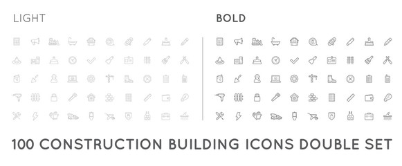 Set of Thin and Bold Raster Construction Building Icons Home and Repair can be used as Logo or Icon in premium quality