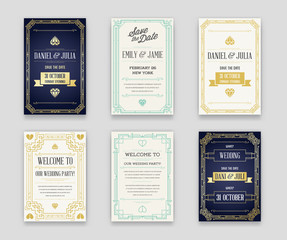 Set of Great Quality Style Invitation in Art Deco or Nouveau Epoch 1920's Gangster Era Collection Raster