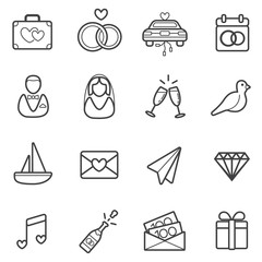 All Kinds of Wedding Marriage or Bridal Icons Set Raster
