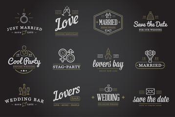 Set of Raster Wedding Love Elements Merry Me Illustration can be used as Logo or Icon in premium quality