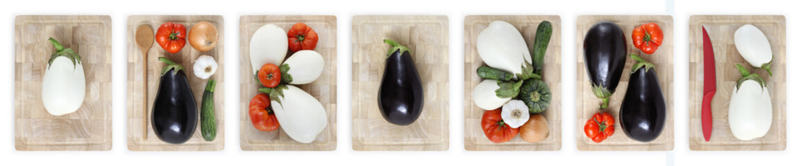 eggplants, tomatoes, zucchini, onions and garlic on wooden cutting board isolated on white banner parmigiana concept