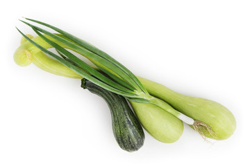 zucchini and green onion isolated on white background