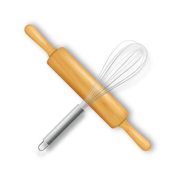 Vector realistic 3D wooden rolling pin and metal wire steel whisk cross-shaped icon closeup isolated on white baclground. Top view. Design template for graphics