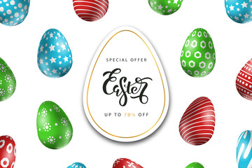 Vector realistic isolated poster for Easter sale with eggs for decoration and covering on the white background. Concept of Happy Easter.