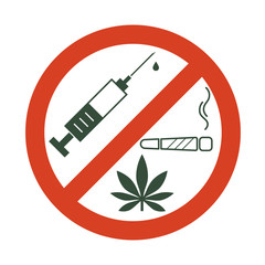 No drugs allowed. Drugs, marijuana leaf with forbidden sign - no drug. Drugs icon in prohibition red circle. Anti drugs. Just say no. Isolated vector illustration on white background.