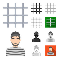 Prison and the criminalcartoon,black,flat,monochrome,outline icons in set collection for design.Prison and Attributes vector symbol stock web illustration.