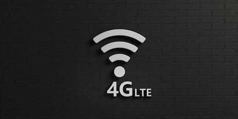 WiFi 4G Symbol in White Brick Wall. 3D Rendering illustration