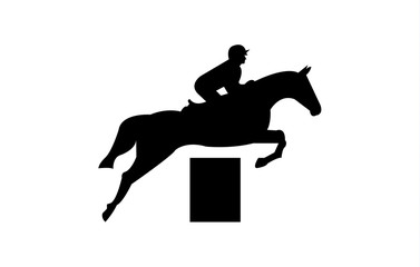 Jockey on a horse jumping over an obstacle silhouette