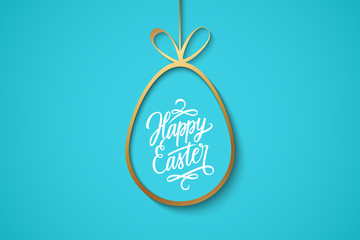 Easter celebrate banner with golden easter egg and handwritten holiday wishes of a Happy Easter on blue background. Vector illustration.