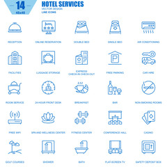 Thin line hotel services and facilities, online booking icons set for website and mobile site apps. Contains such Icons as Reception, Bar. 48x48 Pixel Perfect. Editable Stroke. Vector illustration.