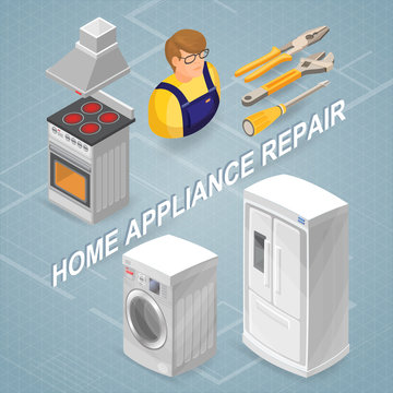 Home appliance repair. Isometric concept. Worker, equipment.