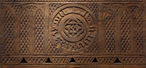 Mamluk era style wooden sculpted panel decorated with floral and geometric patterns, Cairo, Egypt
