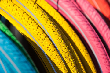 Colorful Bike Tires - blue, yellow, pink