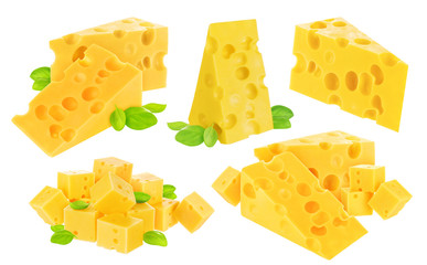 Cheese isolated on white background. With clipping path. Collection.