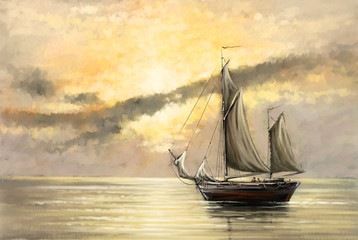 Sea landscape, oil paintings, digital art, ship, boat. Fine art.